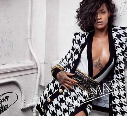Rihanna v kampani Balmain 2014